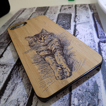 High Quality Wooden Personalized Cat Phone Case