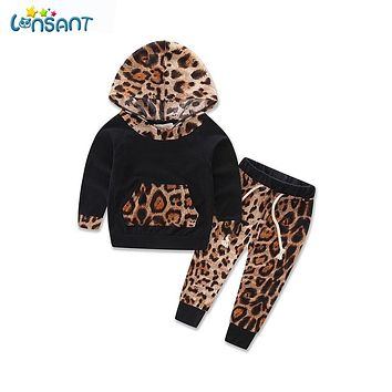 LONSANT Newborn Sport Suits Baby Boy Girls Clothes Leopard Newborn Infant Bebes Hooded Sweatshirt Tops Pants 2Pcs Dropshipping