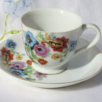 Occupied Japan Demitasse Floral Cup and Saucer
