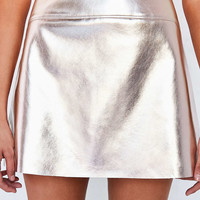 Silence + Noise Rose Gold Vegan Leather Mini Skirt - Urban Outfitters