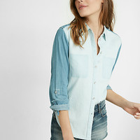 denim color block boyfriend shirt