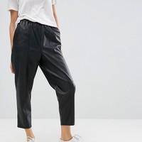 ASOS Leather Look Tapered Pant with Elasticated Back at asos.com