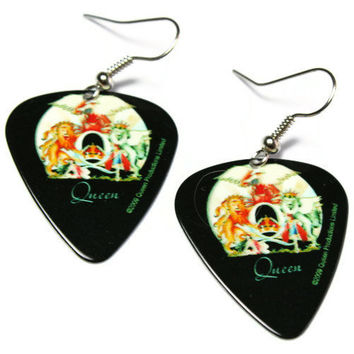 Freddie Mercury Earrings, Queen Guitar Pick Nickel Free Earrings, A Day at the Races Album Art