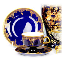 Rare Vintage teacup trio german tea cup porcelain teacups tea trio teacup set cobalt dark blue gold teacup and saucer gift ideas for her