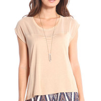 SEMI-SHEER CONTRAST TOP - BEIGE