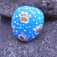 3D art hand painted rock unique gift for him or her puppy paws Wachtel