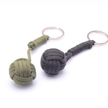 Security Protection B039 Black Monkey Fist Steel Ball Bearing Self Defense Tool Lanyard Survival Key Chain 2 Colors