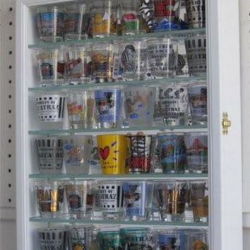DisplayGifts SCD06B-WH Shot Glass Display Case Wall Curio Cabinet, Solid Wood