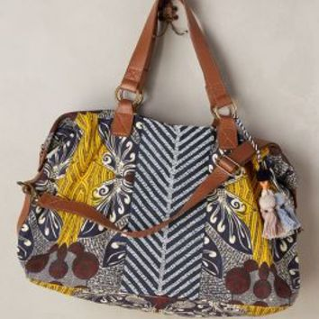 Jasper & Jeera Palm Print Weekender in Blue Motif Size: One Size Bags
