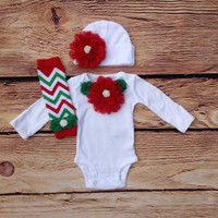 Red White Newborn Christmas Outfit, Baby Girl Outfit, Newborn Photo Prop, My 1st Christmas, Newborn girl hospital outfit, Baby girl