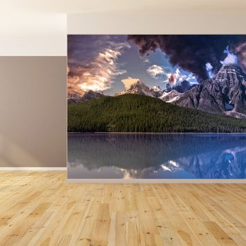 Mountain Lake Landscape Valley Custom Designed Wallpaper Peel and Stick