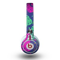 The Bright Colored Cartoon Flowers Skin for the Beats by Dre Mixr Headphones