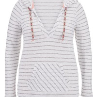 Plus Size - Striped Pullover With Hood - White