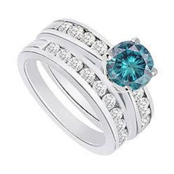 Blue & White Diamond Engagement Ring with Wedding Band Sets 14K White Gold  1.25 CT TDW