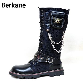 Black Army Gothic Boots Men Military Combat Metal Skull Buckle Motorcycle Punk High Le