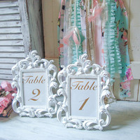 Rustic White Table Number Vintage Style Ornate 5 x7 Frame, Shabby Cottage Chic White Frame, Wedding Frames Antique White Nursery Frame, Gift