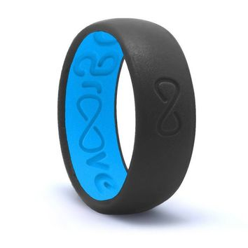 GROOVE ORIGINAL SILICONE RING - STONE GREY / BLUE
