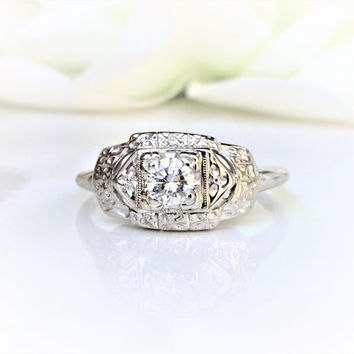 Art Deco Engagement Ring 0.25ct Diamond Wedding Ring 14K White Gold Orange Blossom Motif Ring Size 9