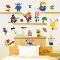 Zootopia Animal World Cartoon Nursery Wall Sticker