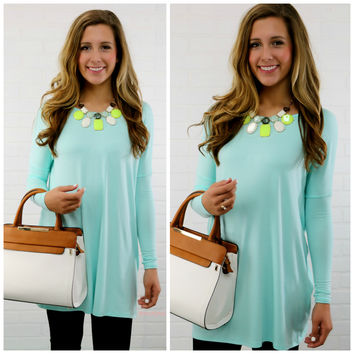 Time Well Wasted Mint Long Sleeve Dress