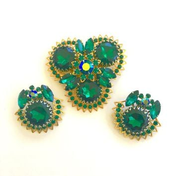 Vintage Judy Lee Demi Parure Rhinestone Brooch and Clip Earring Set Emerald Green Vintage Designer Jewelry