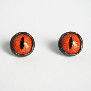 Taxidermy Eye Earrings, Red Eye Earrings, Taxidermy Eyes, Reptile Eyes, Bezel Studs, Sterling Silver