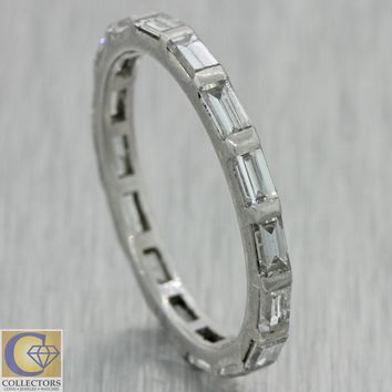 1940s Antique Art Deco Platinum Baguette Diamond Eternity Wedding Band Ring