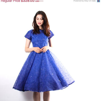 ON SALE 40% OFF - 50s Royal Blue Sparkle Wedding Dress  - 50s Prom Dresses -  Blue Wedding Dress  - The After Tonight  Dress - 6147