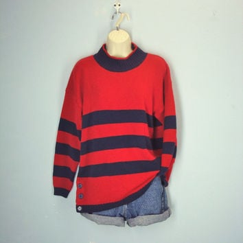 Vintage 80s Sweater / Slouchy  Red Sweater / Rugby Striped Sweater / Soft 1980s Jumper
