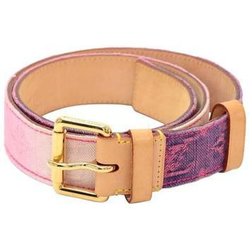 Louis Vuitton Pink Purple Ceinture Monogram Denim Belt Size 80/32