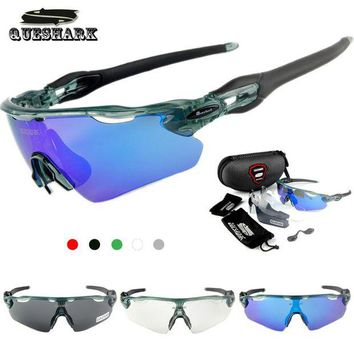DCCK7N3 Queshark 3 Lens Polarized Cycling Sunglasses MTB Road Bike Glasses Racing Bicycle Goggles Tour De France Riding Sports Eyewear