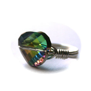 Rainbow Ring Swarovski Vitrail Crystal Twist Silver Wire Wrapped Size 7