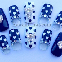 Black & White Heartswith bows false/fake 3D nails Japanese gel nail art kawaii