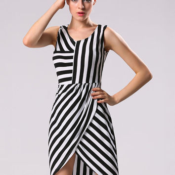 Black and White Striped Sleeveless Asymmetrical Wrap Bodycon Mini Dress