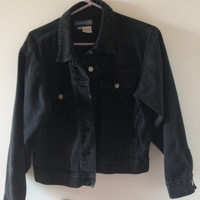90s Black Denim Jacket Dark Gray Denim Jacket