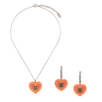 Chanel Vintage Logo Print Necklace And Earrings Set - Farfetch
