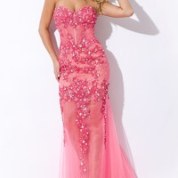 Laced Soft Tulle Gown by Party Time
