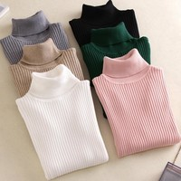 Ribbed Turtleneck Warm Sweater