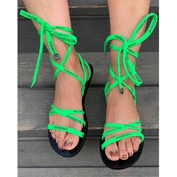 shosouvenir BALENCIAGA ribbon weaving Fashion casual sandals