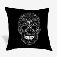 Sugar Skull Black and White Day of The Dead Pillow Case