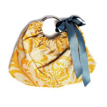 Clutch in yellow damask with a gray bow by ao3designs on Etsy