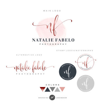 Premade Branding Kit, Photography logo, Watermark, Initials, Logo Design, Stamp, Branding kit, Watercolor logo, Fashion Photographer logo 06