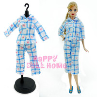 "1 Set Long Sleeves Pajamas Sleeping Wear Bedroom Blouse Pants Outfit Night Clothes For Barbie Doll Kurhn 11.5"" 12"" Kid Gift"