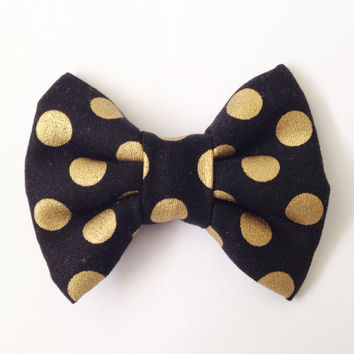 Black with Gold Dots Handmade Bow (Handmade Bow / Bow Tie / or Headband)
