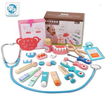 Logwood Wooden toys Real Life Funny play Cosplay Doctor game toy Dentist Medicine BoxPretend Doctor Play 20PCS Set For Children
