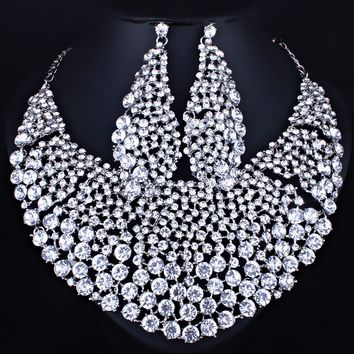 FARLENA Jewelry Full Clear Rhinestones Big Necklace and Earrings for Women Indian Bridal Wedding Jewelry sets