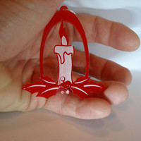 White and red candle Christmas ornament