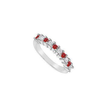 Ruby and Diamond Ring : 14K White Gold - 0.50 CT TGW