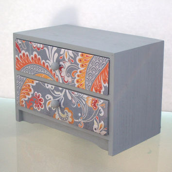 Jewelry Box  Grey Paisley by StrictlyCute on Etsy