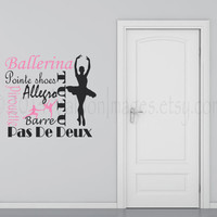 Ballerina wall decal, decal, wall graphic, subway art vinyl decal, wall words sticker, typography, dance, viny graphic wall decal